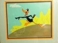 Original hand painted Warner Bros. Daffy Duck cel. This
