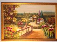 Original Painting of the Italian countryside in ornate