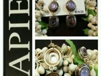 Dull golden with three shades of purple stones earing