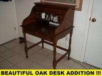 Beautiful OAK Rollop Desk, ONE OWNER, In family for 40