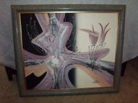 This is an original framed abstract art oil painting on