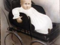 Print copy of original oil painting depicting a baby in