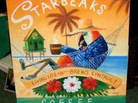 "ORIGINAL PAINTING ON CANVAS ""STARBEAKS COFFEE'' ASKING"