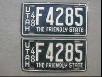 collector quality original Utah 1948 license plates.