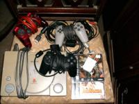 Set includes playstation, 3 controllers, 3 av cables, 2