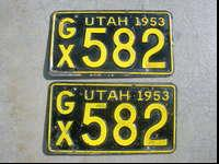 I have a nice pair of original Utah 1953 license plates