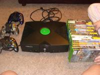 Original Xbox with 3 controllers, all cords, and 19