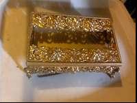 Ornate vintage tissue box holder. All metal and shiny.