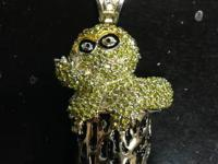Oscar the Grouch blinged out pendent. Made from