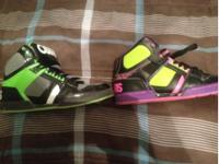 Size 8 men's green and black and size 9 woman's purple.