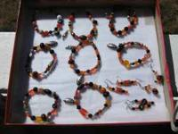 Handmade Oregon State glass bead, earings and