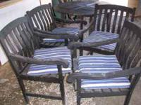 48 inch Wood Table...4 Chairs & Pads.. Great for deck