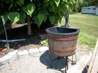 Whiskey Barrel Fountain w/stand $199 Treated Picnic