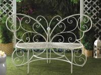 two cast aluminum chairs, flower table, small stained
