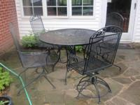 ALL METAL 5 PIECES OUTDOOR PATIO SET. TWO CHAIRS SWIVEL