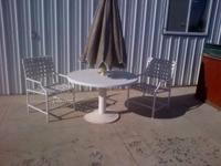 Outdoor Patio Set Table, Umbrella and 2 Chairs Come and