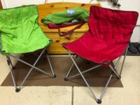 Green and Red quad chairs with carrying bags.  Chairs
