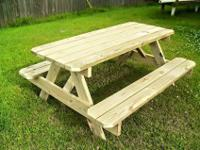 Hand craft picnic tables made from treated pine. Full