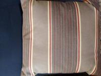 "brown and red striped pillow with envelope back (18"" by"