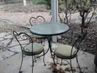 Patio Furniture for Sale. 3 chairs, and 1 round glass