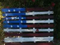 These flag pallets are hand made and painted. They can