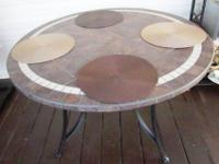 "48"" Round Mosaic Stone Table with wrought iron base"