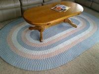 Reversible Oval Braided Rug in Peach, Light Blue and