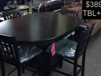 OVAL CAPPUCCINO FINISH TABLE + 4 CHAIRS ONLY $389.99 +