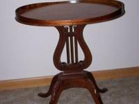 Oval harp table for the living room or family room. The