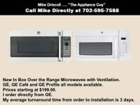 Over the Range Microwaves with Ventilation New In Box.