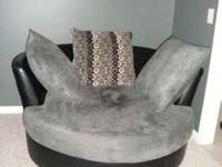 Oversized gray microsuede/black leather chair. Only a