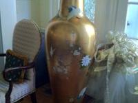 Two over-sized Oriental hand painted metal vases. Paid