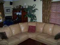 Camel colored leather sectional. Oversized couch with