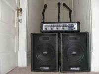200 watt PA SYSTEM 5 MIKES 4 MIKE STANDS SET FOR QUICK