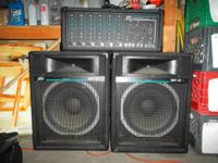 PA system, Peavey powered mixer XR 600C, 2 SP-5 Ti