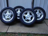 Four 14 x 6 aluminum sport Pacer wheels with 3 good