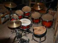 -7 piece drum set 8, 10, 12, 14, 16 inch toms, 22 inch