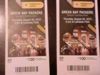Offering 2 Packer vs. Chiefs tickets. Section 115, Row
