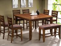 PAGE COUNTER HEIGHT DINING SET * Made of solids and