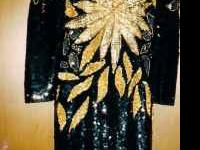 PAID $1250 size 3 Gorgeous Black and Gold with all over
