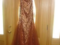 Brown/Gold Sequined Pageant Dress... BEAUTIFUL on