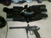 spider victor paintball gun. includes mask hopper pods