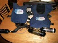 Piranha paintball gun with 2 nine ounce co2 cannisters