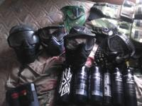 I GOT 5 PAINTBALL GUNS AND LOTS OF GEAR 6 TANKS 5 MASKS