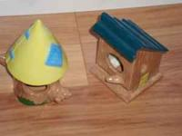 "This yellow and blue bird house stands 3"" high $8 ea."