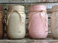This is for a set of 4 painted mason jars, with jute