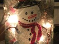 We have a Painted Snowman Scene with Potpouri & Lights