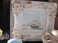 Ship Painting - Acrylic med. - with ornate frame. for