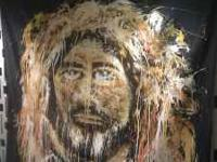 Painting of Jesus done by artist blindfolded during a