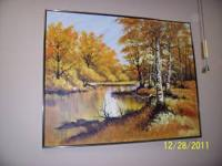 Painting of a river scene, 4 foot high by 5 foot wide,